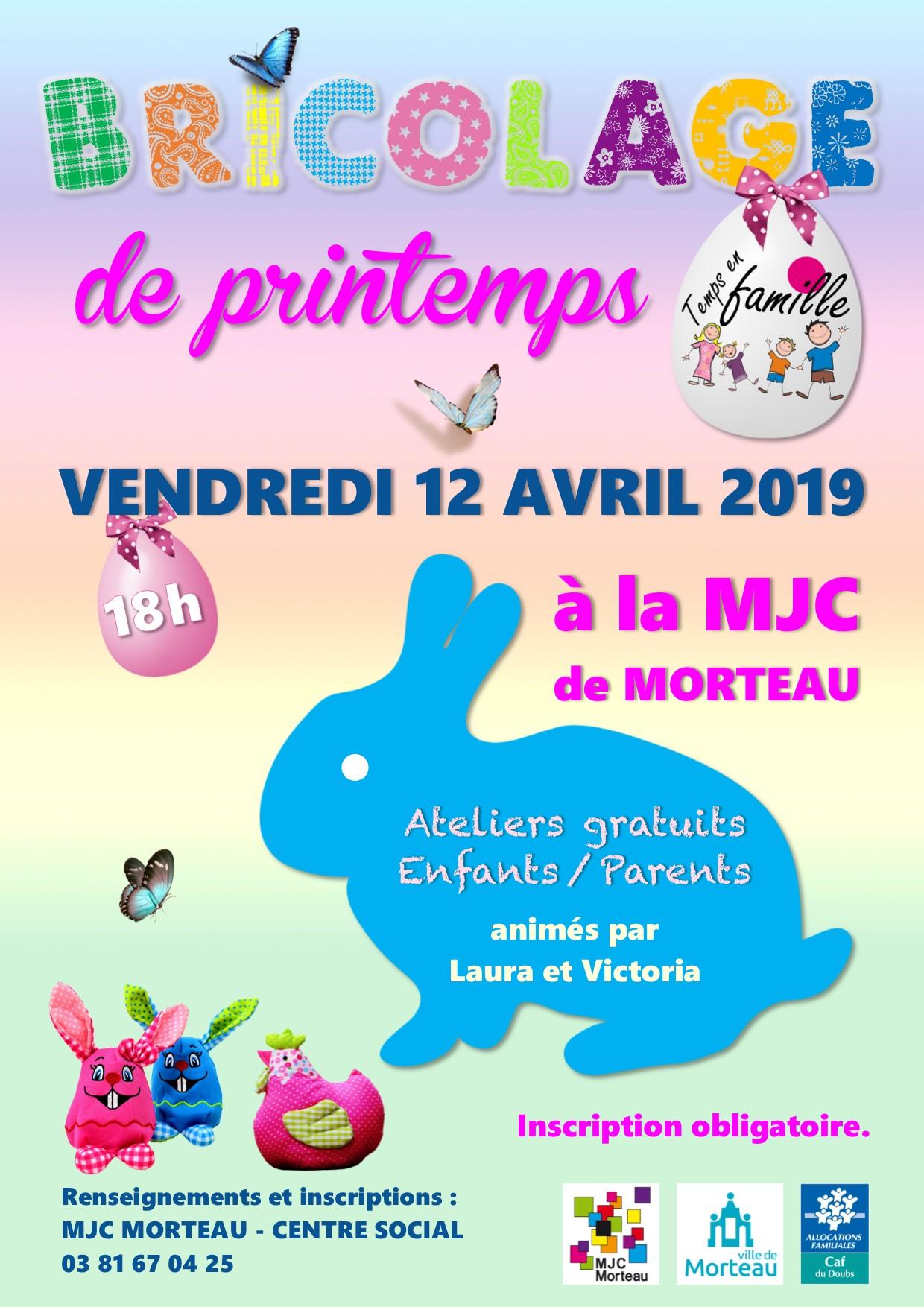 affiche atelier bricolage de printemps 2019